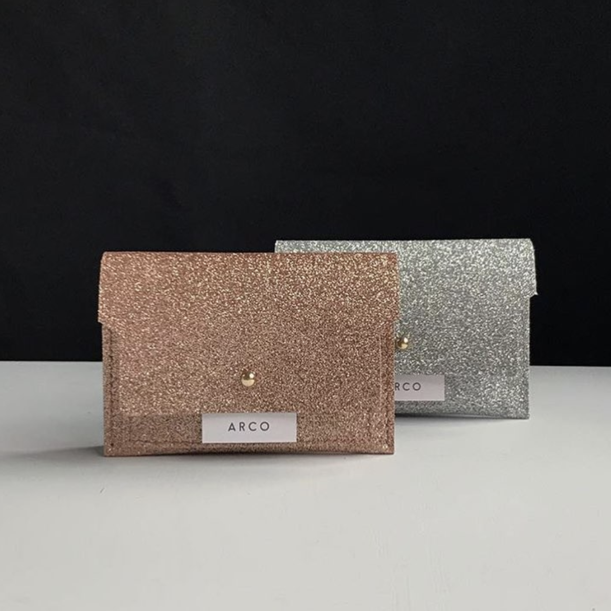 Glitter calf leather wallet (2color)