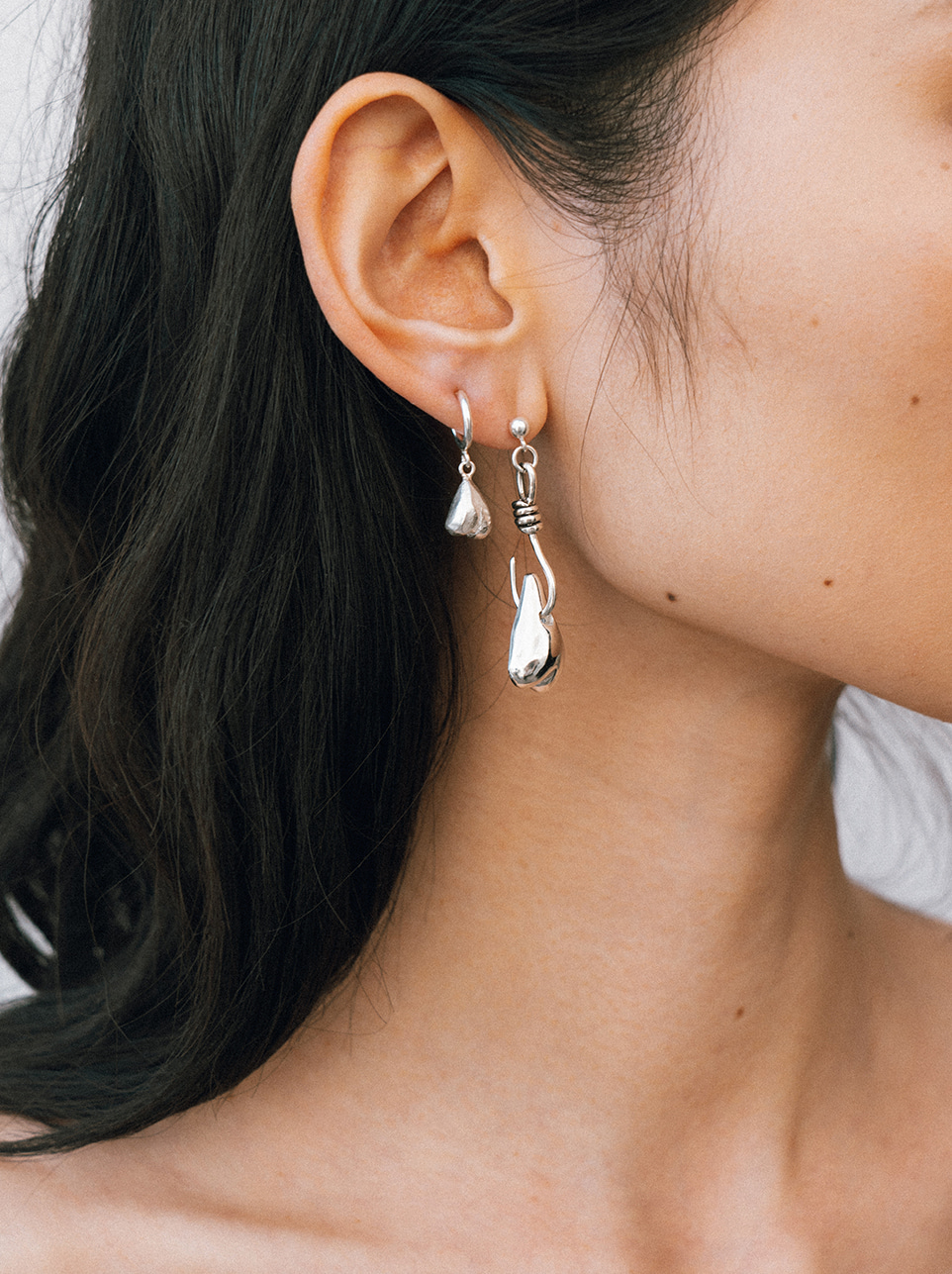 Tiny love hoop earring